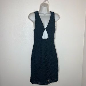 NASTY GAL || NWT black scalloped floral dress sm